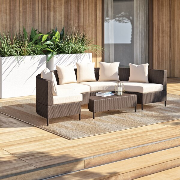 Dowd 5 Piece Rattan Sectional Seating Group with Cushions by Mercury Row
