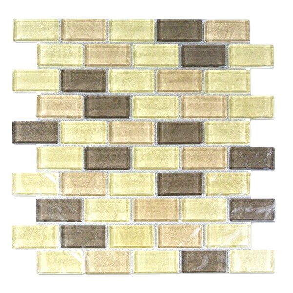 Geo 1 x 2 Glass Mosaic Tile in Light Brown by Abolos