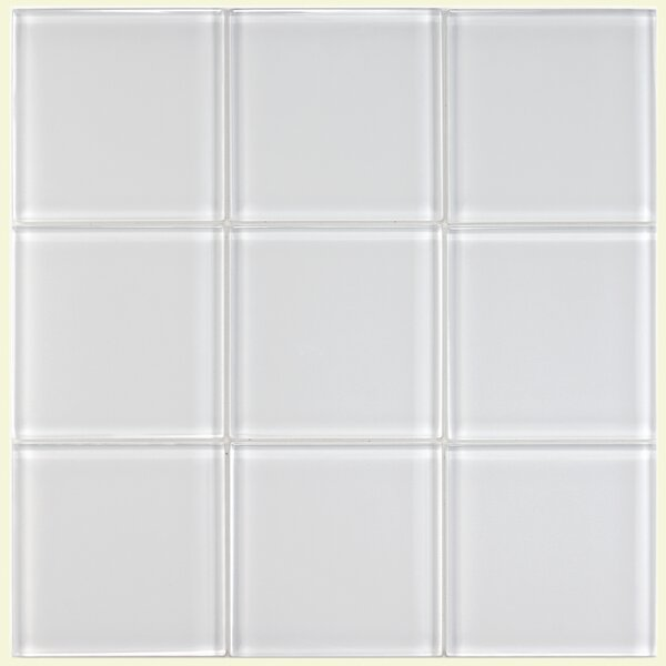 Sierra 4 x 4 Glass Field Tile in Ice White by EliteTile