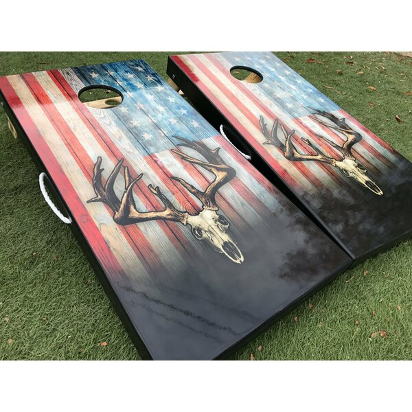 American Flag Deer Skull 10 Piece Cornhole Set by West Georgia Cornhole