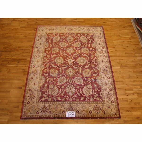 One-of-a-Kind Hand-Knotted Red 8' x 11' Wool Area Rug