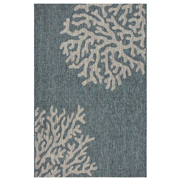 Christiane Reef Blue/Gray Indoor/Outdoor Area Rug by Highland Dunes