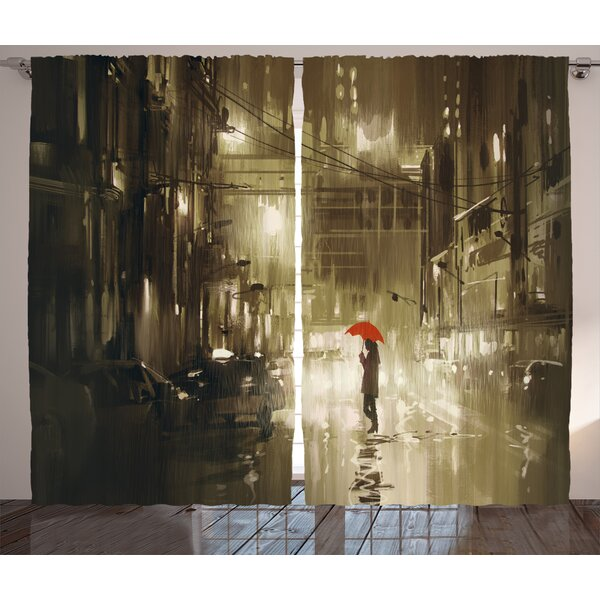 Woman with Umbrella in Street Decor Graphic Print Room Darkening Rod Pocket Curtain Panels (Set of 2) by East Urban Home