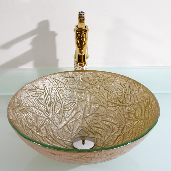 Glass Circular Vessel Bathroom Sink by Legion Furniture