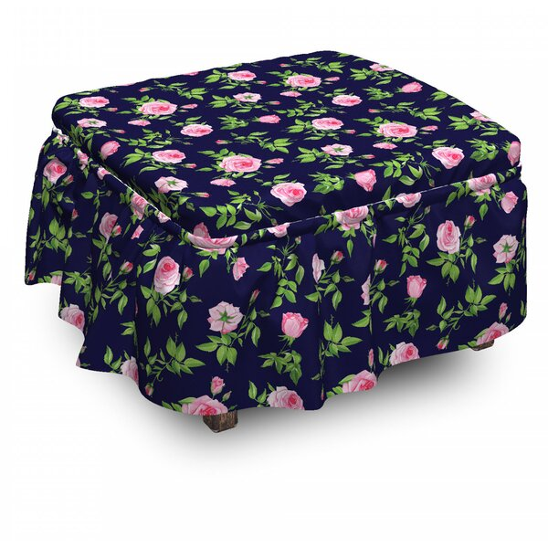Review Vintage Roses Buds 2 Piece Box Cushion Ottoman Slipcover Set