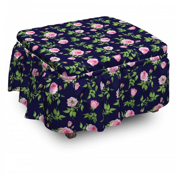 Sale Price Vintage Roses Buds 2 Piece Box Cushion Ottoman Slipcover Set