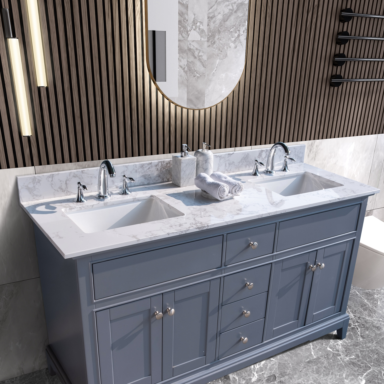 Hcman 61 Double Bathroom Vanity Top In Carrara White With Sink Wayfair
