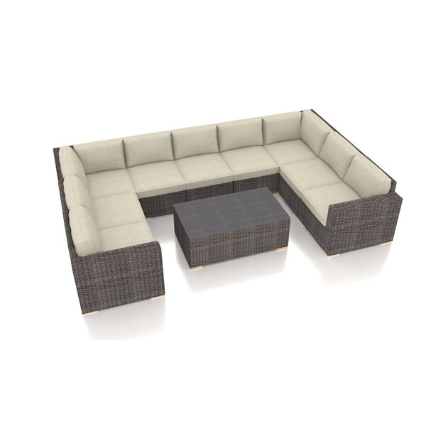 Holcomb 10 Piece Rattan Sectional Seating Group with Sunbrella Cushions by Rosecliff Heights