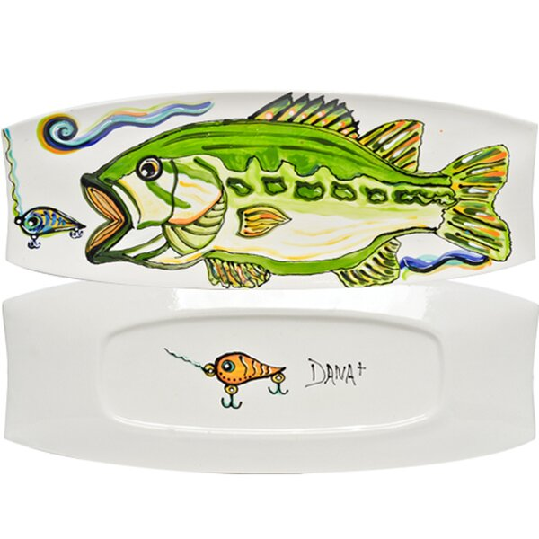 Dana Wittmann Fins Bass Handpainted Ceramic Rectangular Tray by Thompson and Elm
