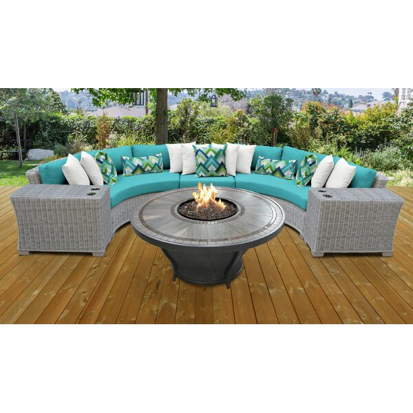 Claire 6 Piece Rattan Sectional Seating Group with Cushions by Rosecliff Heights Rosecliff Heights