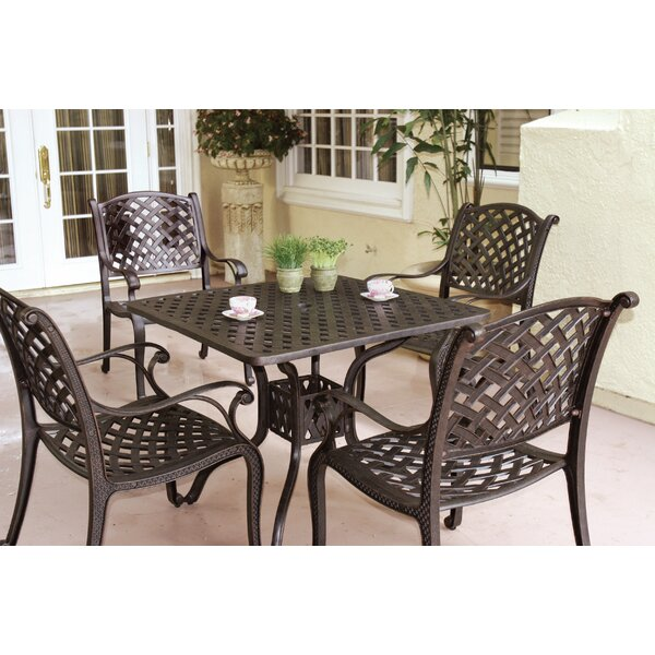 Lincolnville 5 Piece Square Dining Set with Cushions by Fleur De Lis Living