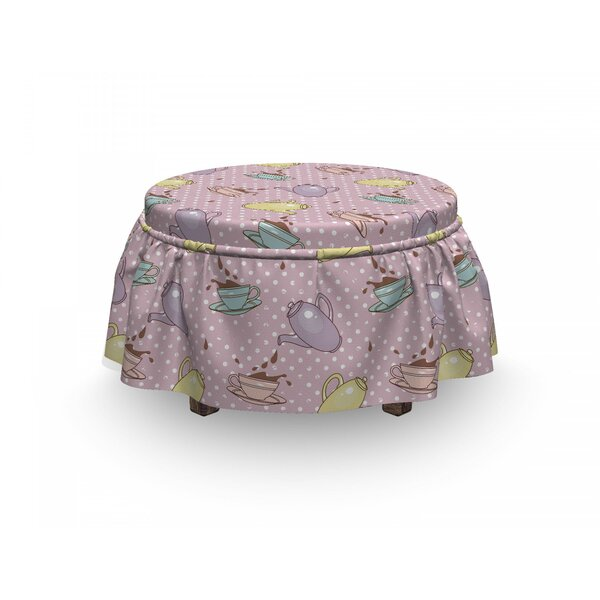 Tea Party Polka Dotted Pot Cups 2 Piece Box Cushion Ottoman Slipcover Set By East Urban Home