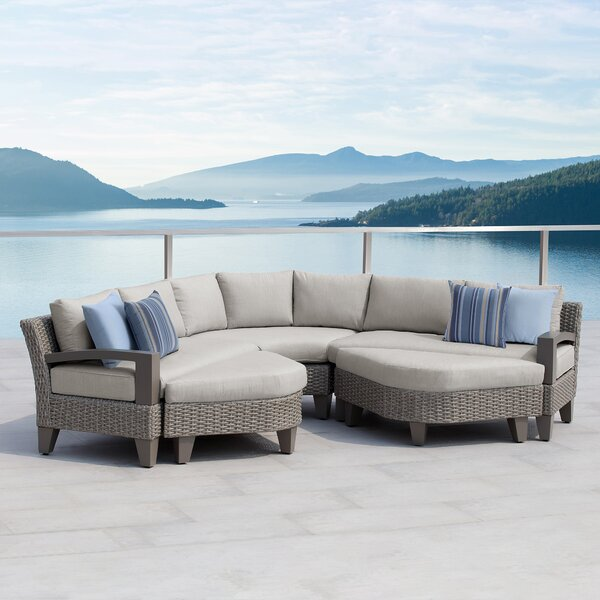 Sutton II 5 Piece Rattan Sectional Seating Group with Cushions by Ove Decors