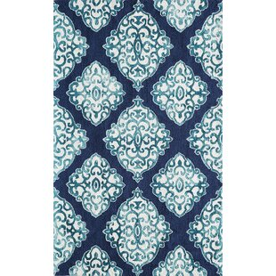 Read Reviews Lucy Hand-Hooked Navy/White Area Rug By Bungalow Rose
