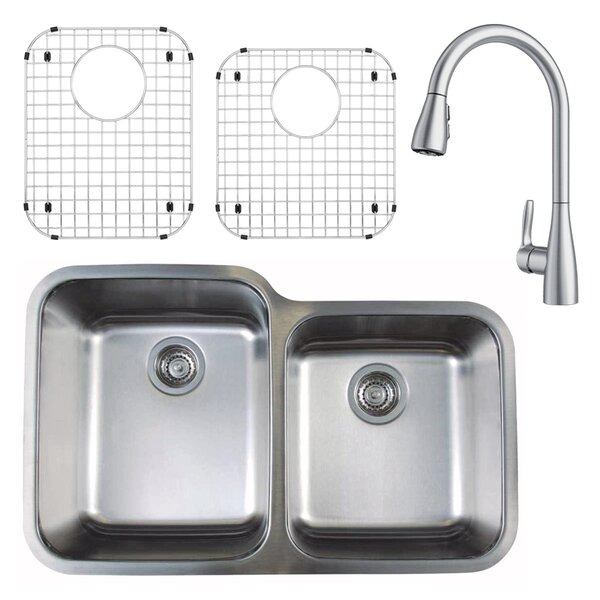 Stellar 32 L x 21 W Double Basin Undermount Kitchen Sink with Faucet, Sink Grid and Sink Strainer by Blanco