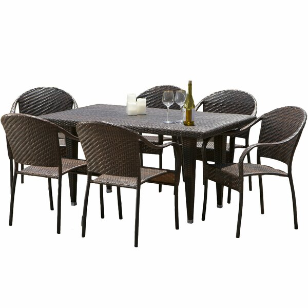 Dimke 7pc Polyethylene Wicker Outdoor Dining Set by Home Loft Concepts