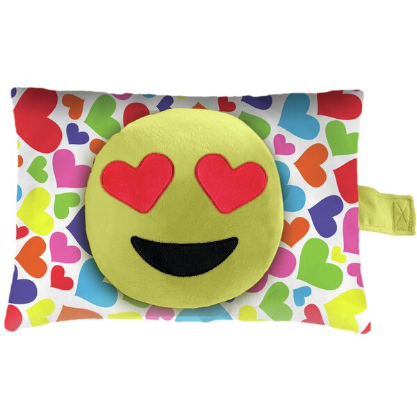 Hearts Face Plush Chenille Throw Pillow by Pillow Pets