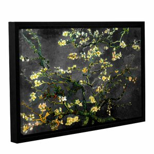 'Almond Blossom-Interpretation In Dahilia Black' by Vincent Van Gogh Framed Painting Print on Wrapped Canvas by World Menagerie