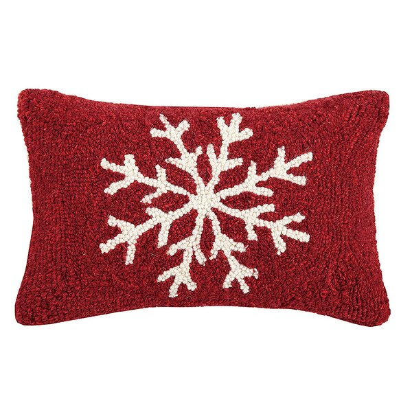 Snowflake Hook Wool Lumbar Pillow by The Holiday Aisle