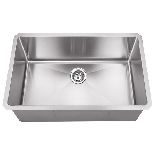 32 L x 19 W Single Bowl 16 Gauge Stainless Steel Kitchen Sink by Hardware Resources