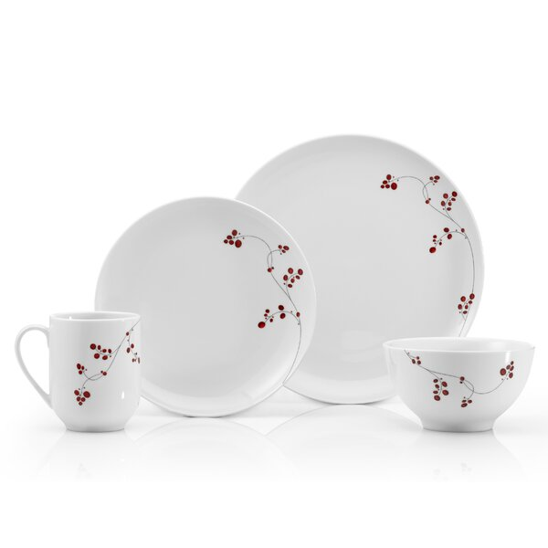 Gourmet Basics Red Berries 16 Piece Dinnerware Set, Service for 4 by Mikasa