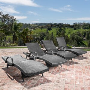Berne Outdoor Modern Wicker Chaise Lounge (Set of 4) Darby Home Co
