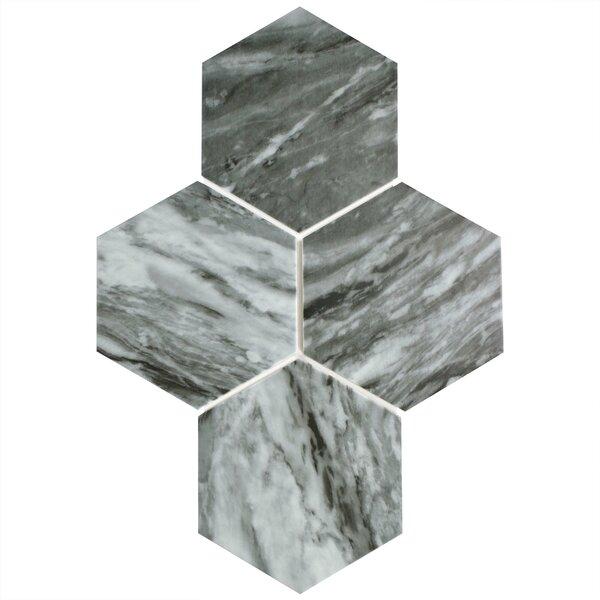 Karra Hexagon 7 x 8 Porcelain Field Tile in Gray/White by EliteTile