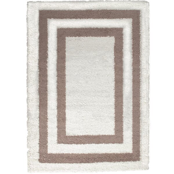 Greenwich High Pile Posh Shaggy Border Colorblock Printed Ivory Area Rug by Alcott Hill