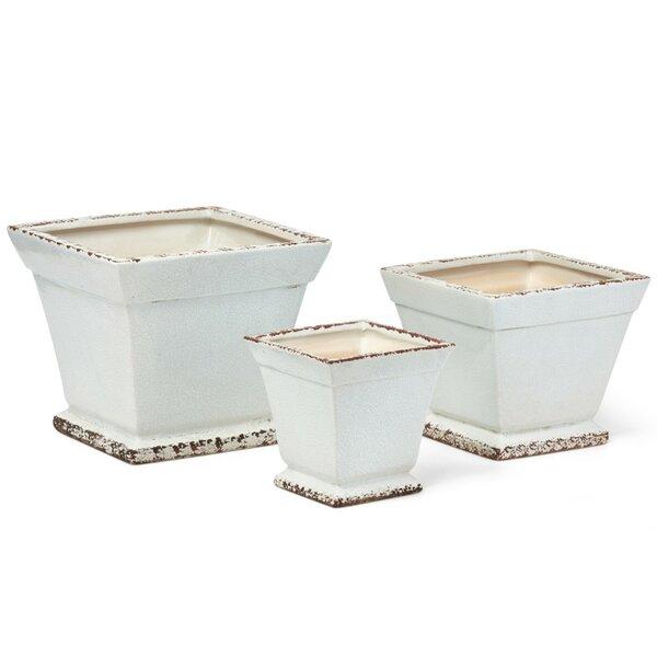 Fabulous 3-Piece Ceramic Pot Planter Set by Benzara