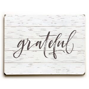 'Grateful' Textual Art on Wood by August Grove