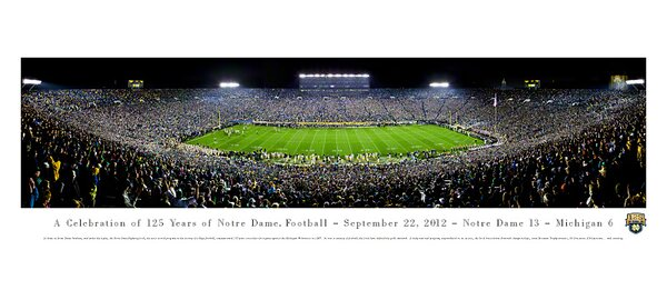 NCAA University of Notre Dame - 125 Night Photographic Print by Blakeway Worldwide Panoramas, Inc