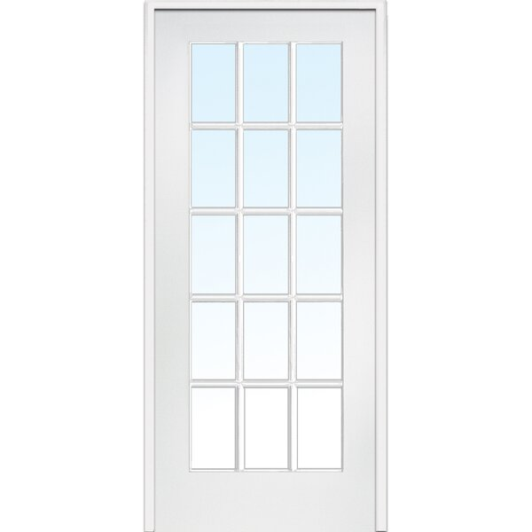 Divided Single Solid Manufactured Wood Glass MDF Prehung French Door by Verona Home Design