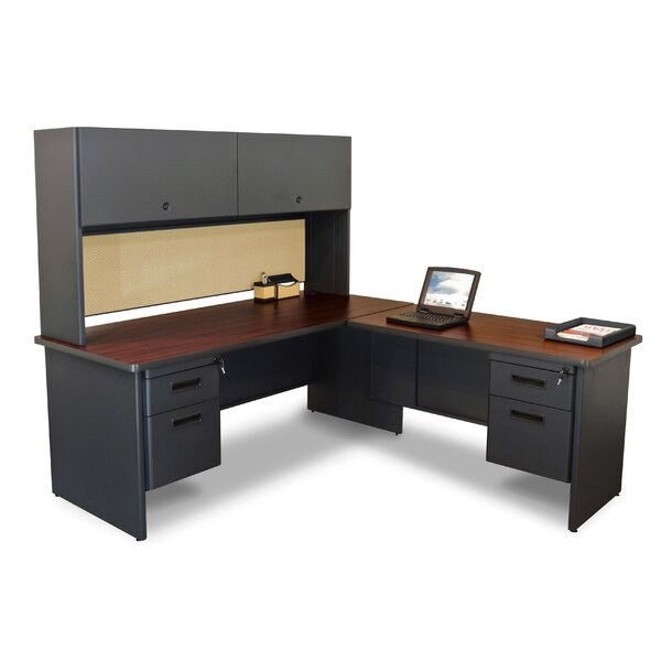 Pronto Pedestal L-Shape Executive Desk with Hutch by Marvel Office Furniture