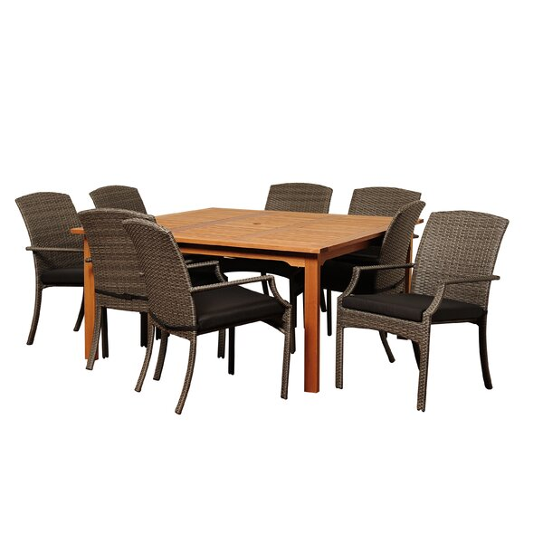 Brighton 9 Piece Square Wood Dining Set With Cushions by Sol 72 Outdoor