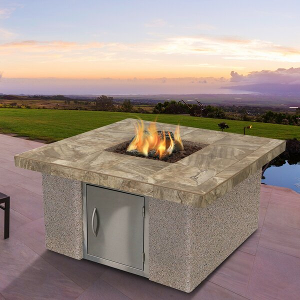 Stucco and Tile Dining Steel Propane Fire pit by Cal Flame