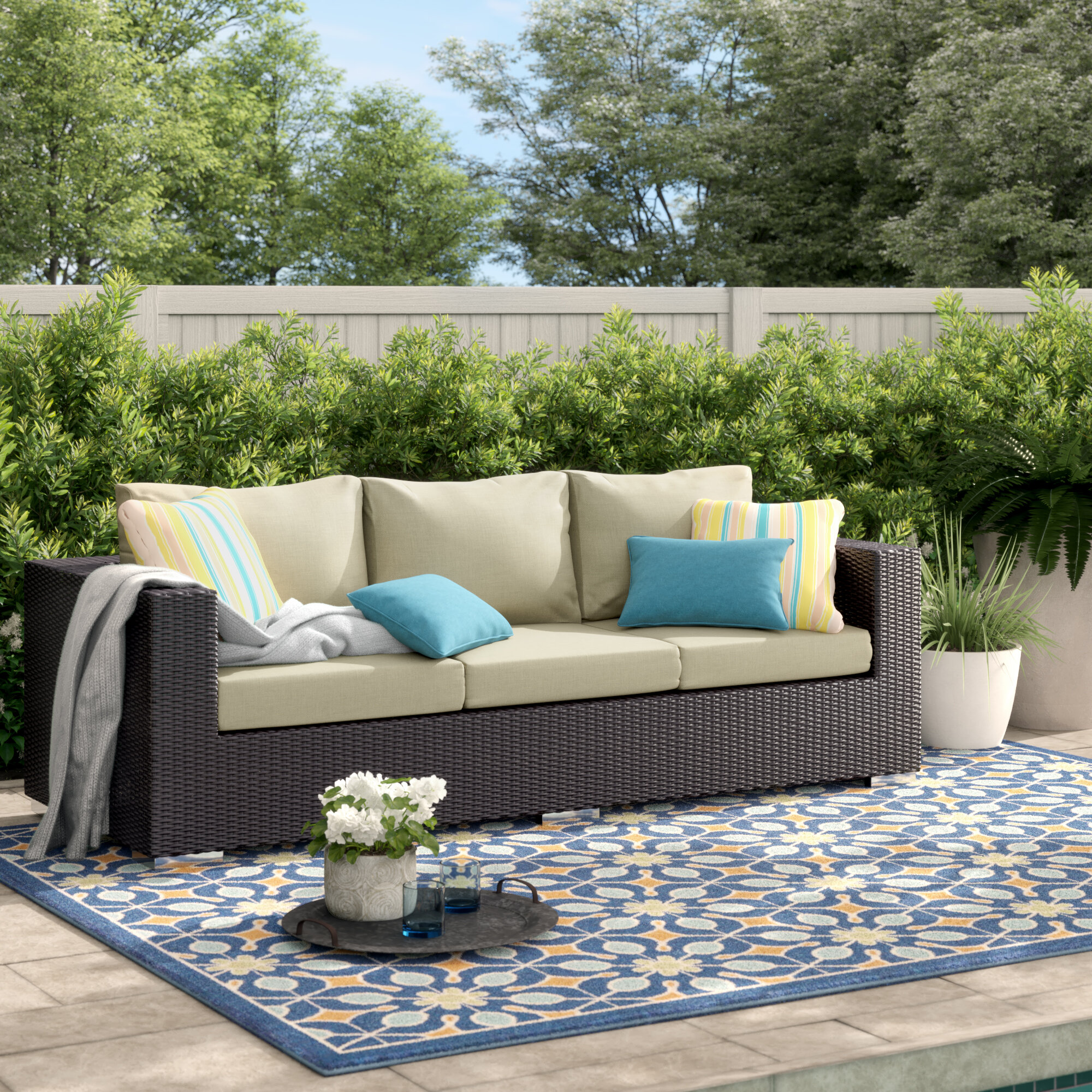 Wondrous Sol 72 Outdoor Brentwood Patio Sofa With Cushions Reviews Ncnpc Chair Design For Home Ncnpcorg