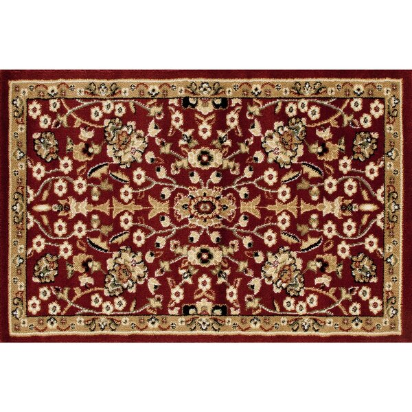 Hirth Slice Hearth Beige/Burgundy Area Rug by Alcott Hill