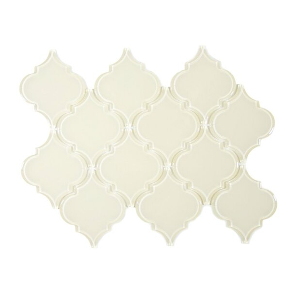 Zirconium Arabesque 3 x 3 Glass Mosaic Tile in Cream by CNK Tile