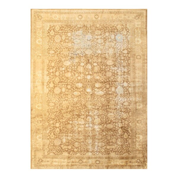 Antique Hereke Hand-Knotted Wool Ivory Area Rug by Pasargad NY