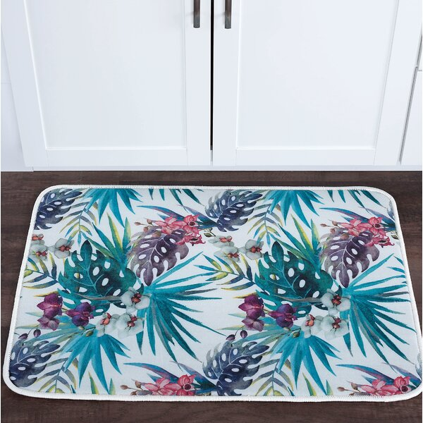 Platres Tropicana Foam Core Rectangle Non-Slip Floral Bath Rug