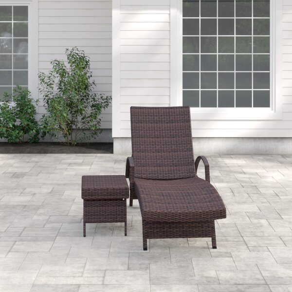 Rebello Adjustable Wicker Reclining Chaise Lounge with Table by Sol 72 Outdoor Sol 72 Outdoor