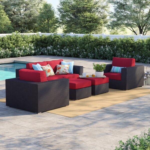 Brentwood 5 Piece Rattan Sofa Seating Group with Cushions by Sol 72 Outdoor