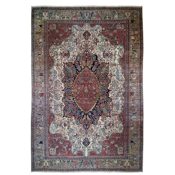One-of-a-Kind Viper Hand-Knotted 1900s Persian Red 12'2 x 18'8 Area Rug