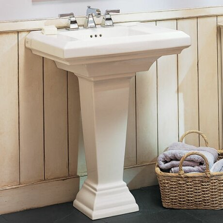 Town Square 27 Pedestal Bathroom Sink with Overflo