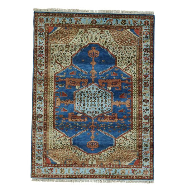 One-of-a-Kind Graver Tone on Tone Hand-Knotted Denim Blue Area Rug by Bloomsbury Market
