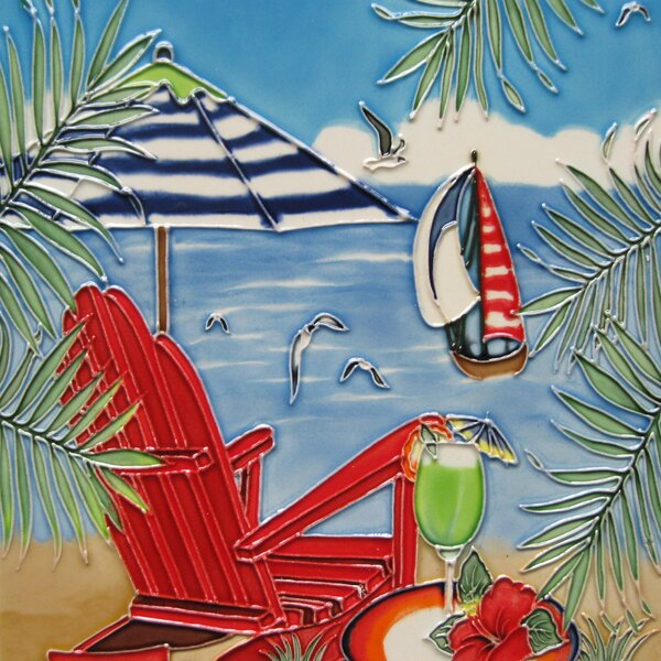 Beach Chair and Umbrella Tile Wall Decor by Continental Art Center