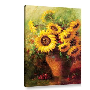 Maria's Sunflowers Print Wrapped on Canvas by Three Posts
