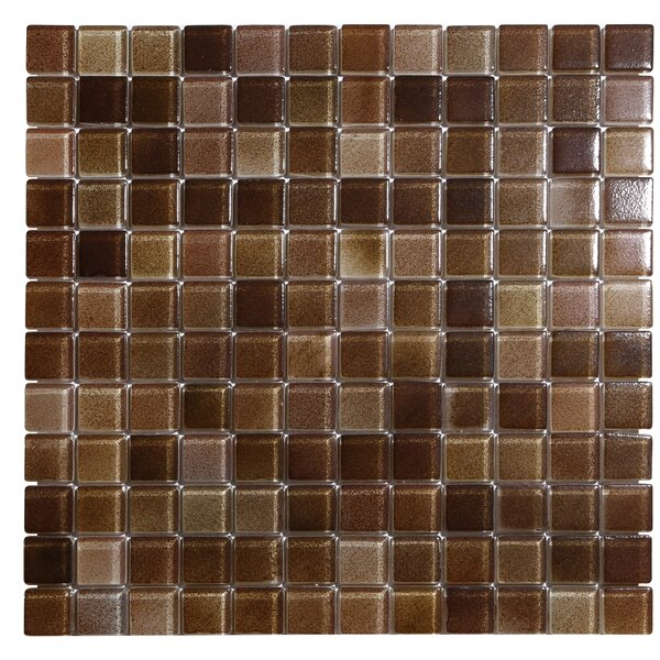 Hi-Fi 1 x 1 Glass Mosaic Tile in Textured Brown by Kellani