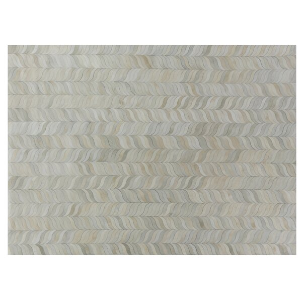 Natural Hide Leather Hand-Woven Gray Area Rug by Exquisite Rugs