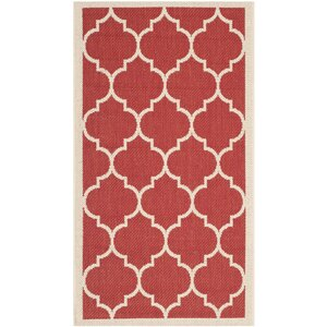 Short Red/Tan Outdoor Area Rug